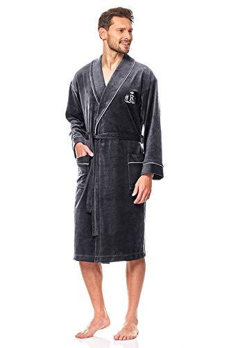 L&L - 9106 Schlafrock für Männer, weicher Bademantel mit Ärmeln. Extrem flauschig. In voller Länge Hausmantel Bademantel für Männer (Graphite, Large)