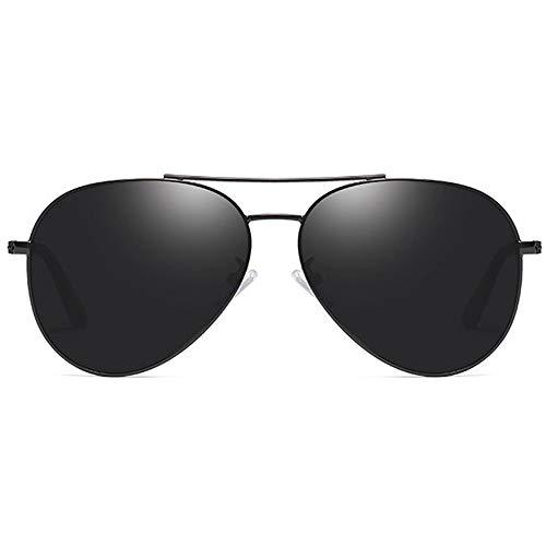 LCSD Gafas de Sol Película De Color Material Metalizado Polarizado Gafas De Sol UV400 De Color Negro/Montura De Pistola Lentes De Sol De Conducción for Hombres (Color : Black)