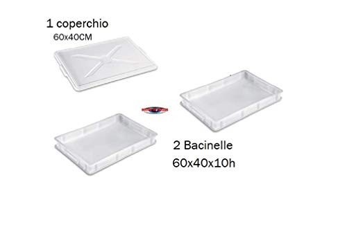 occhioalprezzo 2 Cassette BACINELLE per Alimenti 60X40X10 Impasto Pizza con 1 Coperchio