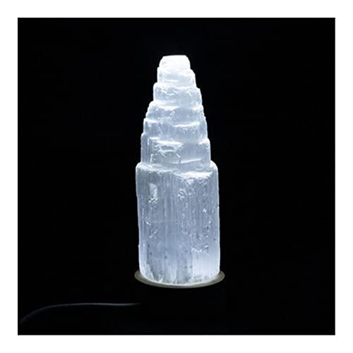 YANGB Naturalmente Irregular 10-20 cm lámpara de selenita Natural Torre Tallada Curación Cristal Cristal Piedra Piedra WICCA Decoración de la decoración Punto Blanco Regalo 1pc (Size : 18cm)