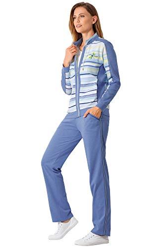hajo Homewear women Damen-Freizeitanzug mit hochwertigem Stickmotiv Interlock-Jersey Rauchblau Größe 46