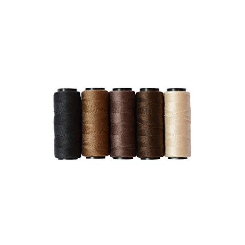 5 Rolls Sewing Threads Using for Hand Sewing,Hair Extensions,Making Wigs DIY and So On (Black,Brown,Dark Brown,Beige,Khaki)