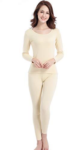 Women Thermal Long Sleeve Scoopneck Base Layer Pants Sport Breathable Long Johns Beige