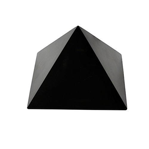 Heka Naturals Pirámide de Piedra Shungit Pulida 10 cm con Fullerenos | Auténtica Piedra Shungita de Karelia, Rusia | Pirámide Pulida de 10 cm