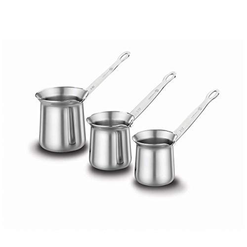 Korkmaz Flora | 3-er | Mokkakannen | Kaffeekannen | Espressokannen | Mokkakocher | Kaffeekocher | Mokka-Set | Edelstahl | Türkischer Kaffee | Silber&Schwarz