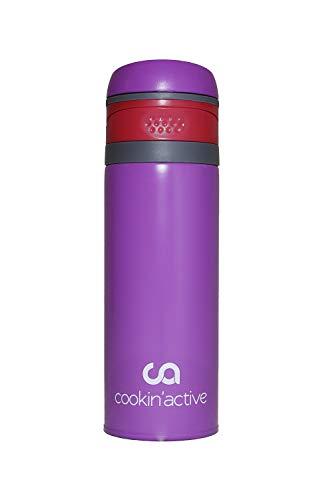 cookin'active Thermosflasche, Trinkflasche, BPA frei, perfekt für Kinder, Schule, Sport & Freizeit, Ultra leicht, auslaufsicher, schnell und einfach zu öffnen, vollkommen geschmacksneutral