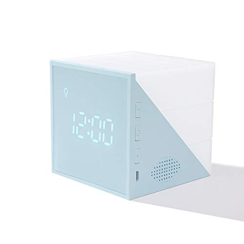 Pumprout Reloj Despertador cúbico de Time Rubik, luz Nocturna LED de Siete Colores, Reloj Despertador Recargable USB, Luces LED de Colores, Regalo