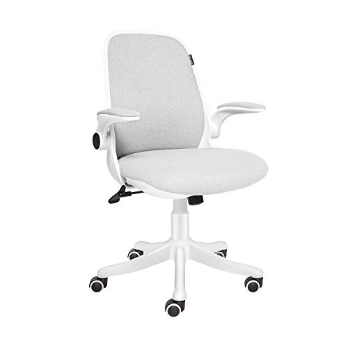 ELECWISH Office Chair Ergonomic Desk Chair Mid Mesh Back Swivel Seat Adjustable Lumbar Support Executive Chair with Flip up Armrests, Grey White