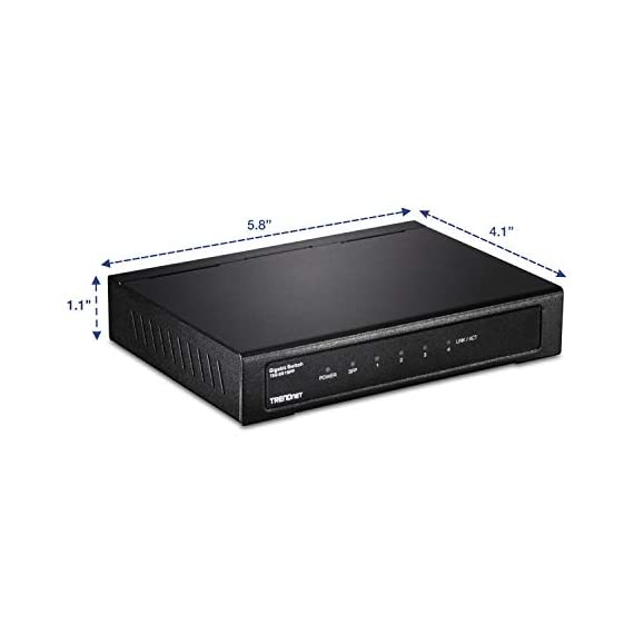 TRENDnet 4-Port Gigabit Switch with SFP Slot, TEG-S51SFP, 10 Gbps Switching Capacity, Fanless, 802.1p QoS, Rear Facing… 3 DEVICE INTERFACE: 4 x Gigabit Ethernet Ports; 1 x SFP slot; LED indicators; Wall Mount SWITCHING CAPACITY: This fanless unmanaged desktop switch offers a total switching capacity of 10 Gbps combined with the flexibility of fiber networking REAR FACING PORTS: 4 x Gigabit Ethernet ports and 1 x SFP slot in the rear with LED indicators covey port status