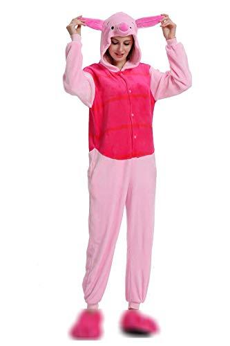 Unisex-Einteiler, Kostüm, Pyjama, für Erwachsene, Frauen, Männer, Tier-Cosplay, Halloween, Hausbekleidung Gr. S(  Höhe 147 cm/ 157 cm ), Pink Pigle