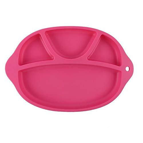 LUFKLAHN Silikon Abendessen Kinder Platten sind langlebig, Nicht leicht zu deformieren, und integrierte Anti-Rutsch-Saugnäpfe Teilen Sie das Baby-Geschirr. (Color : B)