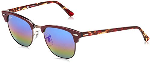 Ray-Ban RB3016 Clubmaster Square Sunglasses, Metallic Dark Bronze/Blue Rainbow Flash, 51 mm