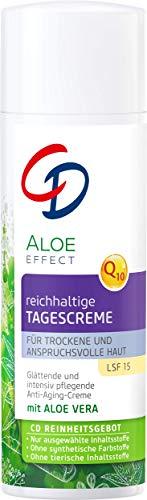 CD Aloe Effect reichhaltige Tagespflege, 50 ml, intensiv pflegende Anti-Aging-Creme, LSF 15, mit Q10 & Aloe vera, vegane Feuchtigkeitscreme für trockene Haut