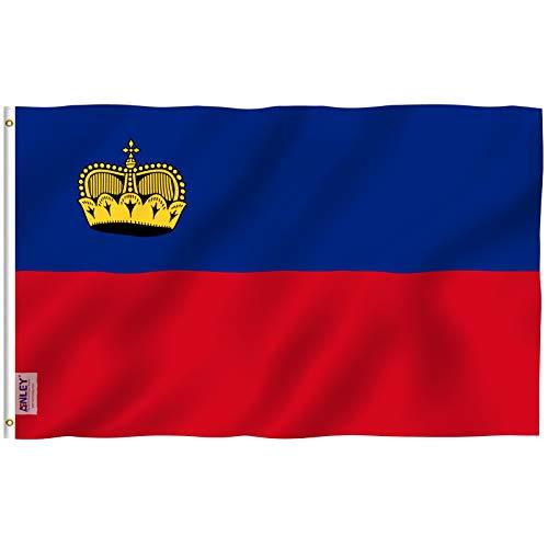 Anley Fly Breeze 3x5 pies Bandera de Liechtenstein - Color Vivo y Resistente a la decoloración UV - Encabezado de Lienzo y Doble Costura - Principado de Banderas de Liechtenstein Poliéster