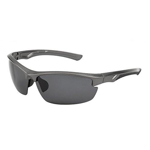 JM Sport Polarisiert Sonnenbrille Dame Herre Halb Randlos Radfahren Laufen Angeln Golf Wandern(Silber/Polarisiertes Grau)