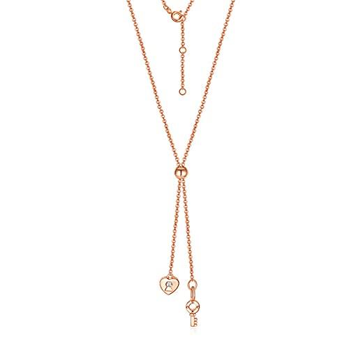 Ajustable Oro Rosa De 18 Quilates Mujeres Clave Collar Joyería Colgante Colgante Conjunto De Joyas Cumpleaños Regalos