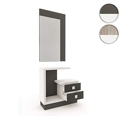HomeSouth - Recibidor con Espejo y Dos cajones, Mueble de Entrada Acabado en Blanco y Grafito, Modelo Star, Medidas: 71 x 75 x 27,9 cm de Fondo