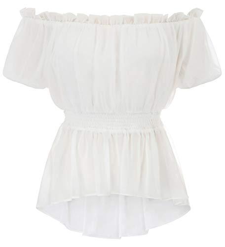 Women's Gothic Renaissance Peasant Short Sleeve Blouse Top Elastic Waist White L