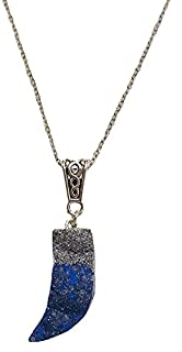 Aga Glitter Embellished Elephant Tooth Shaped Handmade Resin Pendant Sterling Silver Necklace for Women - Blue and Silver