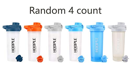 HOOPLE Protein Shaker Bottle, Gym Sports Water Bottle, Smoothie Mixer Cups, BPA Free, Flip Lid with Powerful Blending Ball Included, 24-Ounce (4 Pack O/N/A/G)