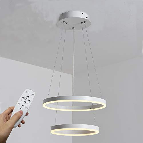 Moderna lampada a sospensione a LED, 2 anelli collezione di vernice bianca, applique a sospensione a luce regolabile Lampadario a soffitto moderno, dimmerabile 2700K - 6500K, con telecomando - 46W