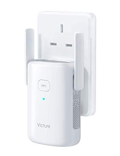 Victure 1200Mbps WiFi Booster WiFi Range Extender Repeater 2.4GHz 5Ghz ,WPS&One-Click Setting, Fast Ethernet Port, AP Mode to Provide a Stable Network for Online Working