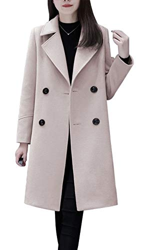 chouyatou Women's Basic Essential Double Breasted Mid-Long Wool Blend Pea Coat (Medium, Off White)