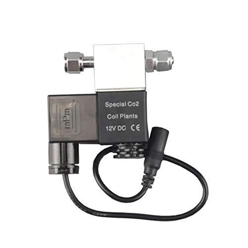 Decdeal 12V Electroválvula Válvula CO2 Acuario Regulador del Sistema de CO2 Accesoiros de Acuario Decorativo Resistente para Tanque de Peces Planta de Agua