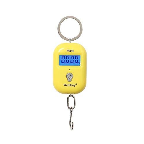 Smart Digital Báscula con Báscula de llavero de 25Kg X 5g, Mini LCD, báscula de gancho colgante electrónica portátil, báscula de bolsillo digital para equipaje de pesca, viaje, amarillo