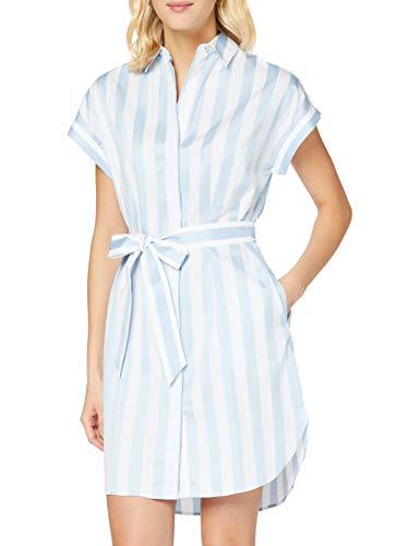 Tommy Hilfiger TH Essential Shirt Dress SS Vestido, Azul (Deck Chair STP Yd/Cerulean 422), 44 (Talla del Fabricante: 12) para Mujer