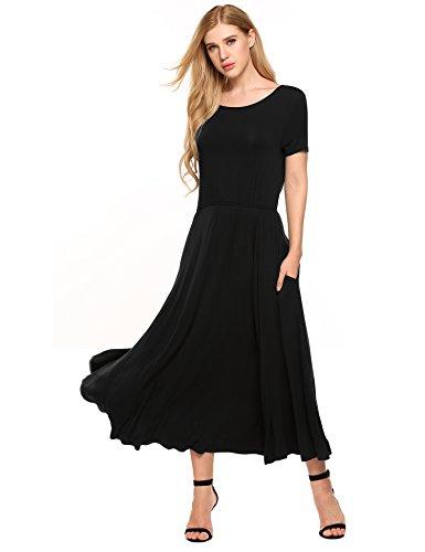 Meaneor dames maxi-jurk korte mouwen zomer swing jerseyjurk getailleerde stretch vloerlange zomerjurk