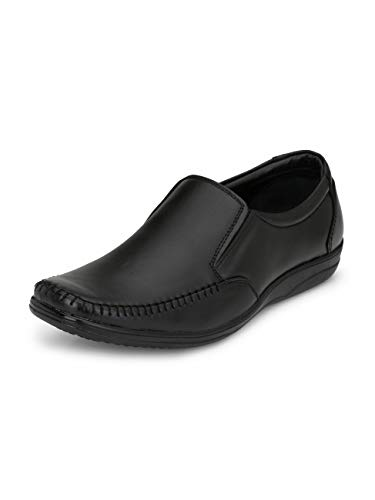 FENTACIA Men Genuine Leather Stiched Formal Shoes(Highly Cushoned) Black