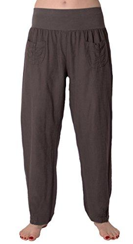 FASHION YOU WANT FASHION YOU WANT Damen Leinenhose Größe 36/38 bis Größe 50/52 aus 100% Leinen - leichte Sommerhose Tunnelbund mit Gummizug und 2 aufgesetzten Taschen vorne - weiter Schnitt (46/48, dunkelgrau)
