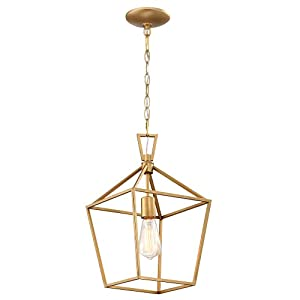 MOTINI 1-Light Gold Lantern Pendant Light Brushed Brass Finish Farmhouse Foyer Cage Pendant Lighting Fixture for Kitchen Island, Entryway