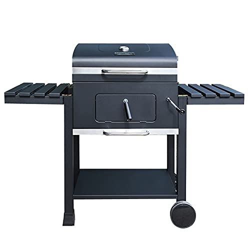 Monument Grills 24-Inch Charcoal Grill Outdoor Cooking Smoker Patio Barbeque Griller with Side Tables , Black