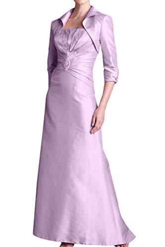 La_Marie Braut Damen Elegant Langes Abendkleider Brautmutterkleider Etuikleider Figurbetont mit Bolero -48 Flieder