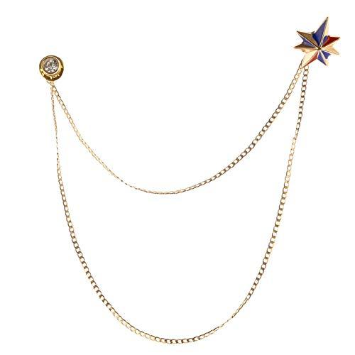 iiniim Broche de Hombre con Cadena Pin Broche Unisex Elegante Mujer Broche Cadena De Hebilla Solapa Cuello Broches de Metal para Mujer Esmoquin Corbata Sombrero Bufanda Camisa