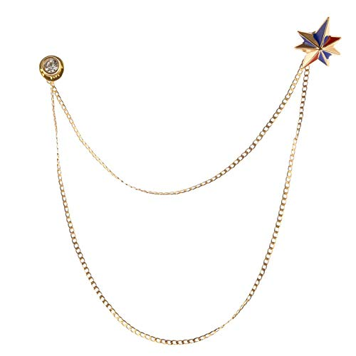 iiniim Broche de Hombre con Cadena Pin Broche Unisex Elegante Mujer Broche Cadena De Hebilla Solapa Cuello Broches de Metal para Mujer Esmoquin Corbata Sombrero Bufanda Camisa Dorado B OneSize