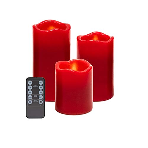 Battery Power Romantic Red LED Candles - Real Wax Flameless Votive Candle Lights Flickering with 10-Key Remote, Set of 3(D 2.5' x H 3' 4' 5')