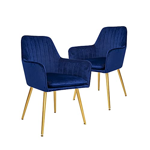 CangLong Furniture Modern Living Room Accent Arm Club Guest with Gold Metal Legs, Set of 2, Navy Blue Dining-Chairs