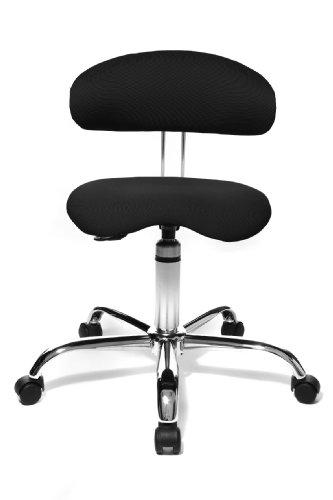 Topstar Sitness 40, Fitnesshocker, Arbeitshocker, Rollhocker mit Rückenunterstützung, 3-Dimensional bewegliche Sitzfläche, Stoffbezug Schwarz