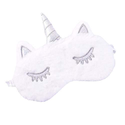 FORLADY Máscara de Dormir Mujeres Unicornio Máscara de Ojos de Felpa Sombra de Dibujos Animados Sombra de Ojos para Niños Adultos Felpa (unicornio-blanco)