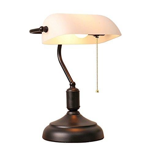 XIANGYU tafellamp Scandinavische stijl vlag retro nostalgie glas wit tafellamp schaduw woonkamer slaapkamer bedlampje leeslamp tafellamp oogbescherming