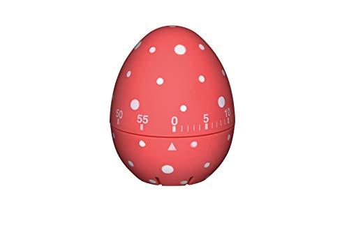 KitchenCraft Eieruhr, Rot/Weiß gepunktet, Rot