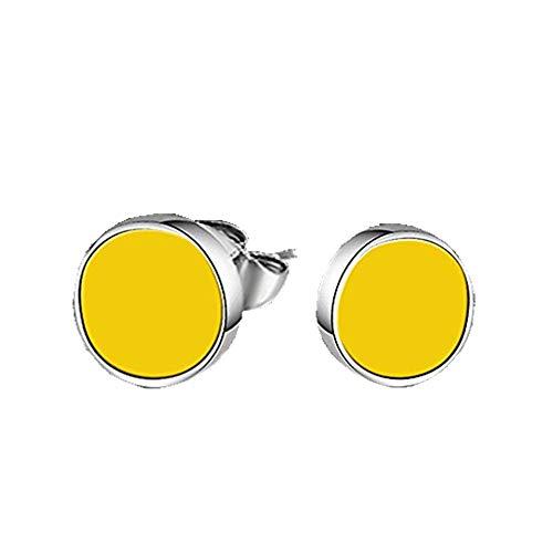 Pendientes amarillos de acero inox con cristal
