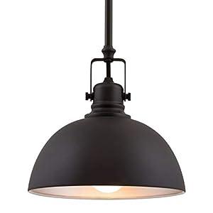 "Kira Home Belle 9"" Contemporary Industrial 1-Light Pendant Light, Adjustable Length + Shade Swivel Joint, Oil-Rubbed Bronze Finish"