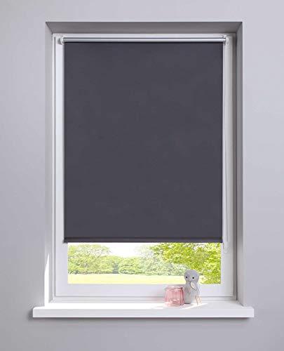 Lichtblick Thermo-Rollo, 100 cm x 150 cm (B x L) in Grau, ohne Bohren, Sonnen, Sicht, Hitze-& Kälte-Schutz, reflektierende Thermofunktion, Klemmfix für Fenster & Türen, Polyester