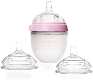 COMOTOMO 可么多么 自然触感奶瓶套装:1只5盎司(约150ml)粉色婴儿奶瓶+2只硅胶奶嘴