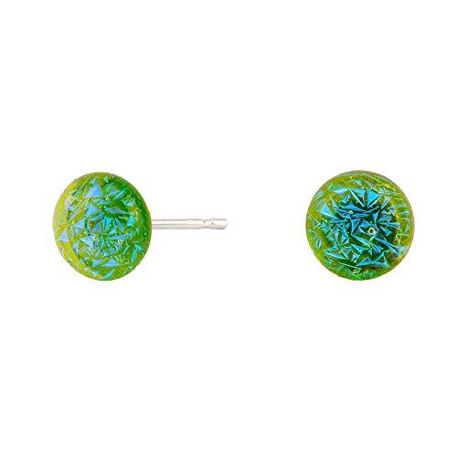 DARK DIAMOND® -Pendiente de Cristal Dicroico tamaño mediano, de colores variados, sistema de cierre a presión, en Plata de Ley 925. Hecho a mano en España, 100% artesanal. (Verde)