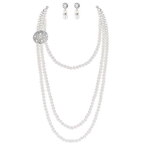 ArtiDeco 1920s Halskette Damen Imitation Perlen Kette Retro 20er Jahre Gatsby Damen Halskette mit Kristall Blume Brosche und Perlen Ohrringe (Stil 3 - Weiß)